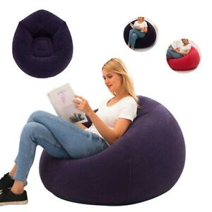 Large Inflatable Sofa Chair Bean Bag Flocking PVC Garden Lounge Beanbag Outdoor