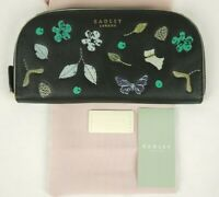 Radley Herbarium Domed Zip Matinee Purse Wallet Black Leather Large New