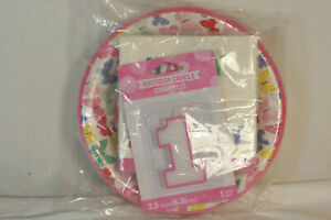 Carter's Happy 1st Birthday Butterfly Party Decoration Set Candle Plates Napkins