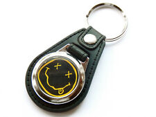 More details for nirvana grunge rock band quality leather and chrome keyring