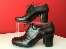 Clarks Burgundy Patent Leather Block Heel Laceup Shoes UK 5.5 D EUR 39