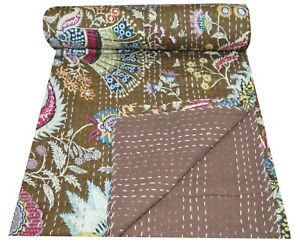 Indian Handmade Floral Print Bedcover Cotton Kantha Twin Quilts Bohemian Decor