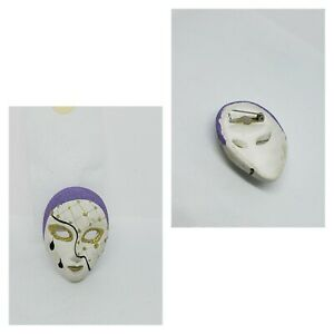 Rare Porcelain Brooch Purple White Gold Mime Face 2 Tear Drops Lapel Pin