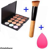 15 Colors Face Cream Makeup Concealer Palette + Sponge Puff Powder Brush OI