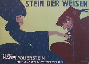 ORIGINAL 1911 GERMAN ART DECO BEAUTY POSTER STEIN DER WEISEN WIZARD MANICURE