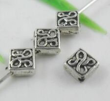 400pcs Tibetan Silver Square Spacer Beads 2.5x5mm   (Lead-free)