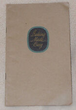 1931 Baking Made Easy Occident Flour Yeast Muffins Cake Recipe Cook Book Booklet
