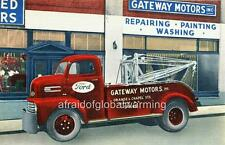 Old Print.  Albany, New York. Gateway Motors - Red Ford Tow Truck