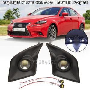 For 2014-2016 Lexus IS F-Sport Bumper LED Fog Light Lamps w/Bulbs Kit Projector