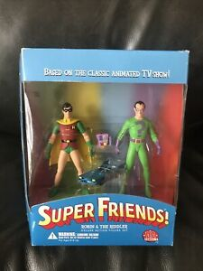 Dc Direct 2003 Super Friends Robin & Riddler Action Figures Unused In Box Batman