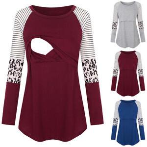 Womens Breastfeeding Nursing T-shirt Long Sleeve Casual Maternity Pregnancy Tops