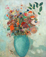 Flowers In A Turquoise Vase Odilon Redon Floral Wall Decor Print Canvas Small