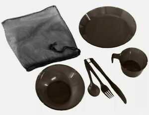 TACTICAL FORCE Polycarbonate Mess Kit Grey - Knife Fork Spoon + Plate Bowl Cup