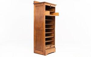 Vintage Oak Tambour Haberdashery Office Filing Cabinet
