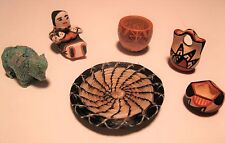 VINTAGE MINIATURE JEMEZ & PAPAGO INDIAN BOWLS BASKET SCULPTURES 6-PIECES