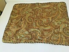 Paisley Jacquard Standard Pillow Sham (1) Chocolate Brown Green Gold - Rope Trim