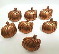 Pumpkin Napkin Rings Set Autumn Fall Harvest Halloween Metal Copper tone Orange