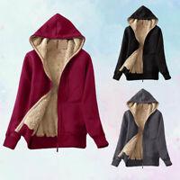 Sweatshirt Coat Winter Up Hooded Zip Jacket Casual Lined Women's Warm Sherpa