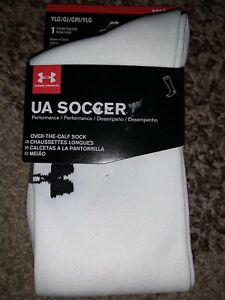 NWT Under Armour Soccer Over The Calf Socks 1 Pair Youth Lg 1-4 White