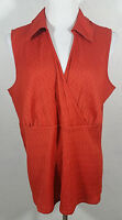 Lane Bryant Womens Tank Top Plus Size 18 20 Orange Red V Neck Textured Career