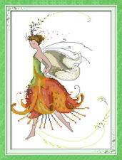 LILY FLOWER FAIRY COUNTED CROSS STITCH KIT 14 COUNT AIDA & SEED BEADS 29x37CM