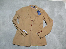 NEW Ralph Lauren Polo Blazer Jacket Womens Size 6 Brown Leather Buttons Coat