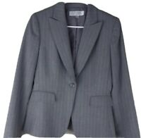 Tahari Arthur S Levine Womens sz 8 gray pin-stripe 1 button blazer jacket