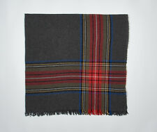 """J CREW Large Square Scarf 56"""" in Red Cobalt Black Plaid on Charcoal Gray Wool Fr"""