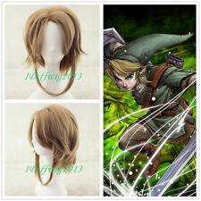The Legend of Zelda Link short brown Cosplay Wig + free wig cap