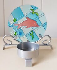 SEA LIFE METAL TEALIGHT CANDLE HOLDER, GLASS BACKBOARD, 10cm TALL, DOLPHIN/BIRDS