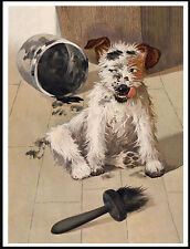 Jack Russell Fox Terrier Dog Having Trouble With Black Paint Lovely Print Poster