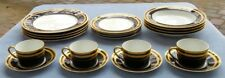 20 Pcs, Set for FOUR Christian Dior Gaudron Onyx Black Gold Trim Dinnerware