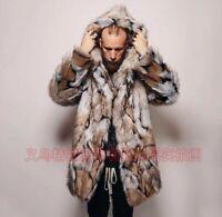 Winter Men's Faux Fox Fur Jacket Parka Hooded Outwear Coat Warm Mid Length Loose
