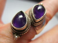 STERLING SILVER ESTATE VINTAGE DBL PURPLE AMETHYST CHUNKY BAND RING SIZE 7