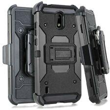 For Nokia 3.1A / Nokia 3.1C - Hard Hybrid Armor Case Black Holster w/ Belt Clip