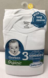 New Gerber Unisex 3-Pack Organic Cotton Long Sleeve Onesies Sz 0-3 Months