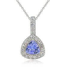 Sterling Silver Tanzanite & White Topaz Trillion-Cut Necklace