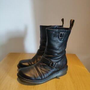 Dr Martens Karin Mid Calf Black Leather Biker Boots UK 6 EU 39 - Read Desc
