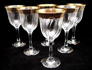 Set of 6 Italian Crystal Wine Water Beverage Glasses - 24K Gold Greek Key 12 oz