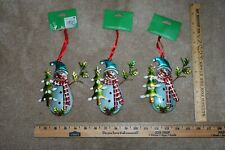 New Set of 3 METAL SNOWMEN WITH TREE SCARVES ORNAMENTS Snowman Winter