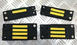 Genuine Vintage Navy Rank Shoulder Tabs Press Stud Gold Lace & Green Flashes