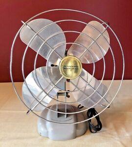 Vintage MCM 1950s Manning Bowman Oscillating Desk Fan Works Great Industrial