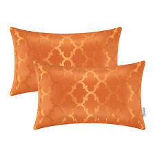 Pack of 2 Cushions Covers Pillows Cover Case Quatrefoil Geometric 12X20 Orange