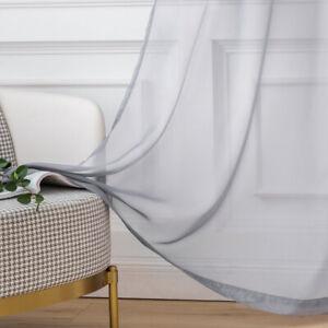 2erSet Vorhang Transparente Gardine Ösenvorhang Ösenschal Durchsichtig Dekoschal