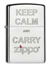 Zippo Keep Calm Carry Zippo Chrome brushed 60000186 Collection 2015