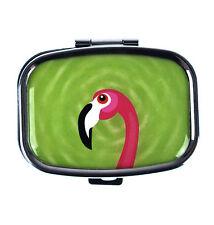Fenicottero rosa su verde PORTAPILLOLE