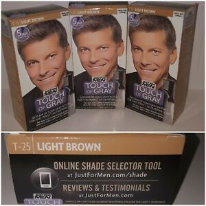 Just For Men Touch Of Gray, T25 Light Brown (3 Pack) Salt & Pepper Look 5 minute
