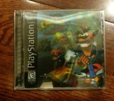 Crash Bandicoot Warped PlayStation 1 Ps1 Holographic Cover Black Label Complete