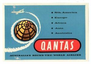 Vintage Qantas Baggage Decal Sticker Label - Round-The-World Airline Circa 1960