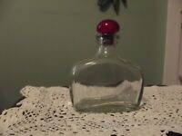 Vintage Empty Liquor Bottle Clear Glass Decanter Original Cork Top Red